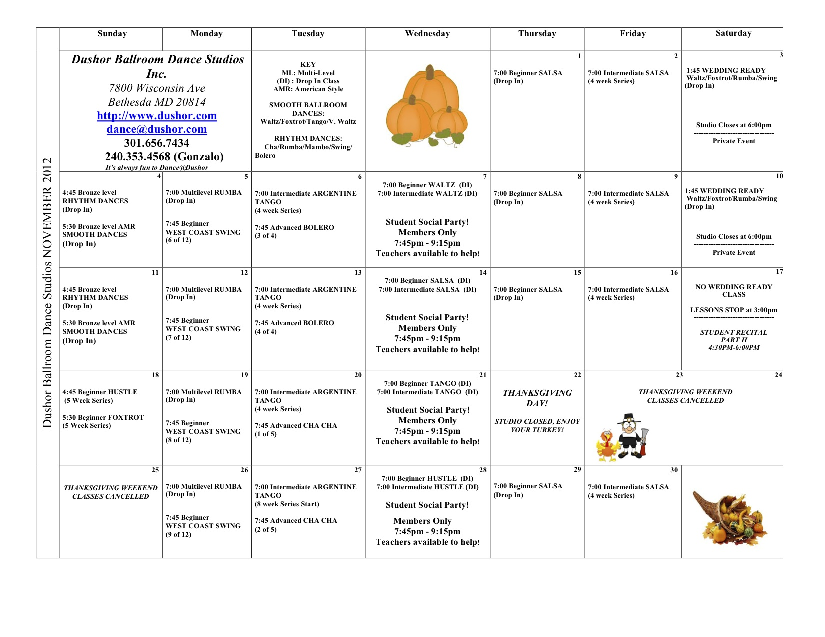 NOVEMBER Calendar, Please Email                       Dance@dushor.com if you cannot view